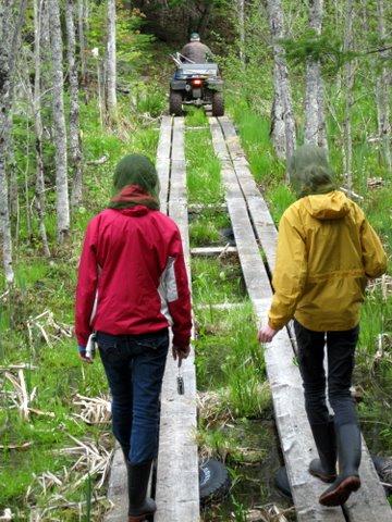 Following Grandpa on the bush trails.